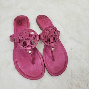 Tory Burch Magenta pink leather Miller sandals